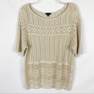 Talbots Beige Gold Metallic Short Sleeve Sweater